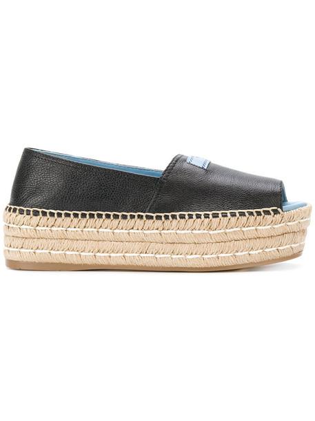 Prada women espadrilles leather black shoes