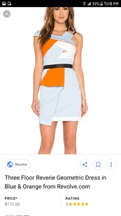 dress,blue,orange,geometric neon colors