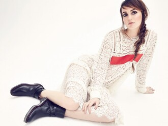 dress white dress lace dress leighton meester boots