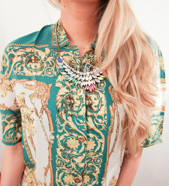 EXCLUSIVE Baroque Emerald Gold Printed Blouse – Glamzelle