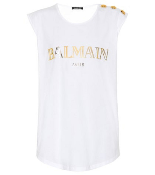 Balmain Printed cotton top in white