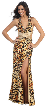 Long halter tiger print prom dress- L928 - JessicasFashion.com