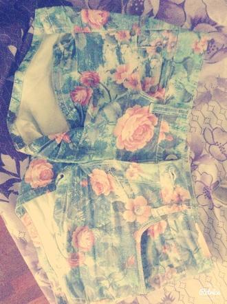 shorts fleur jean rose bleu clair jolie