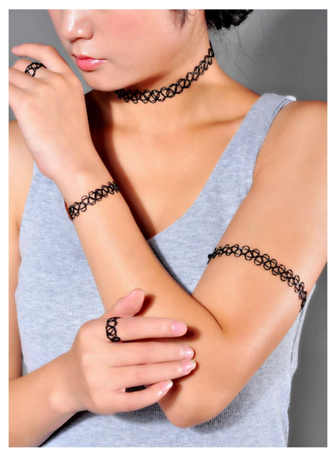 Amazon.com: Complete Set Choker, Bracelet and Ring Vintage Stretch Retro Henna Elastic Tattoo (Black): Clothing