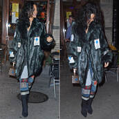 jeans,coat,fur,rihanna,fall outfits