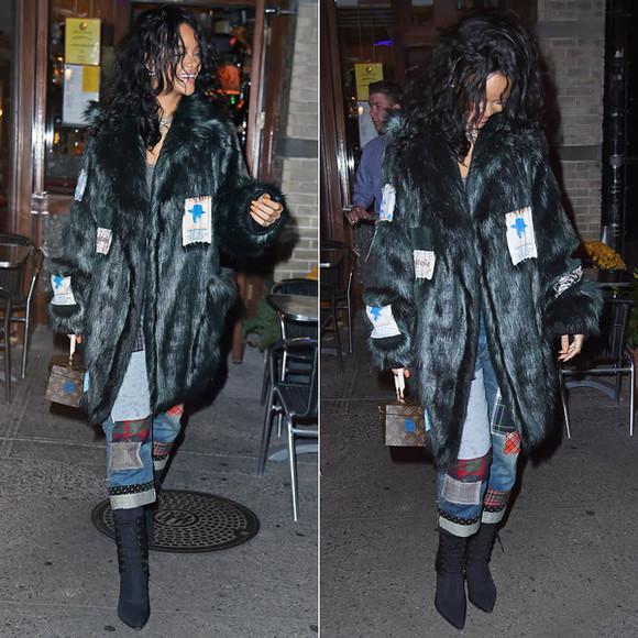 rihanna jeans fall outfits coat fur
