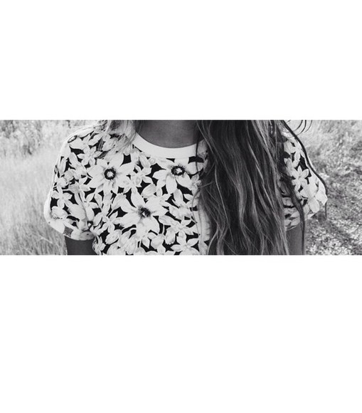 shirt black and white hipster indie flowers print floral