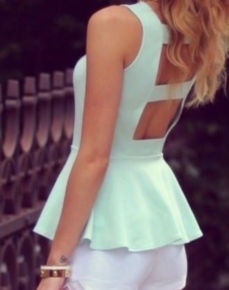 tank top mint cute pretty bracelets pastel openbac cut-out top