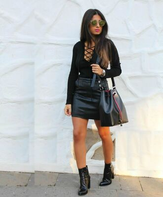 style by nelli blogger mirrored sunglasses leather bucket bag lace up top leather skirt black leather skirt all black everything lace up bodysuit long sleeve bodysuit