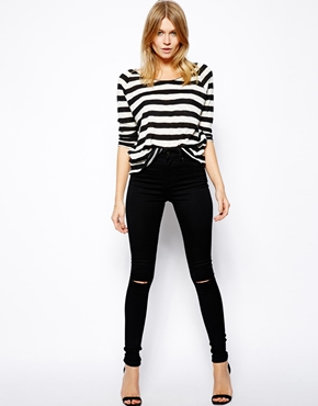 ASOS | ASOS Ridley High Waist Ultra Skinny Jeans in Clean Black with Ripped Knees at ASOS