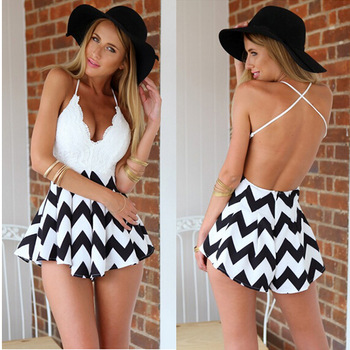 Aliexpress.com : buy 2015 summer new sexy lace patchwork stripe wave leaves cross backless high waist women's holiday beach short playsuit jumpsuit from reliable jumpsuit dress suppliers on amee fashion trading co., ltd.