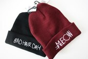 hat,red,bourgondy,black,beanie,meow,badhairday,beannies
