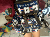 bag,backpack,aztec,tribal pattern,tumblr,pretty,pattern,cute,school bag