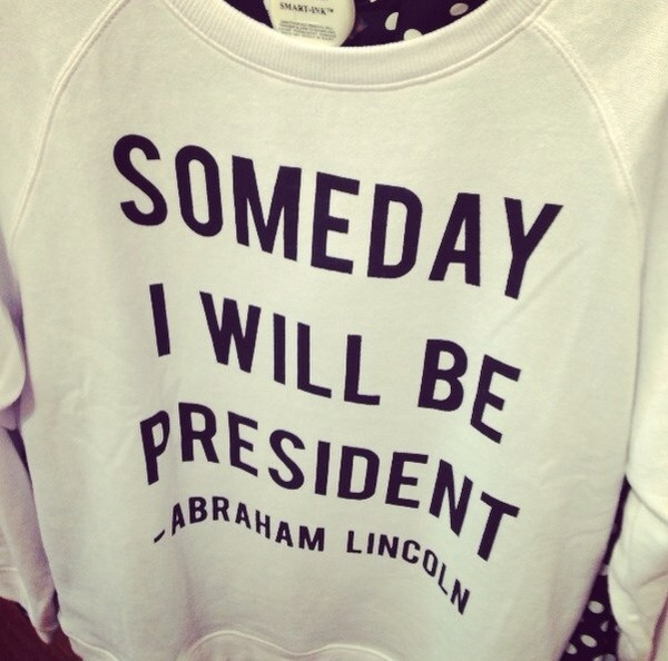 sweater white abraham lincoln print president