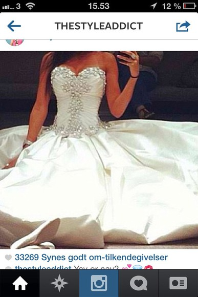 dress white wedding weddingdress diamonds heartshape