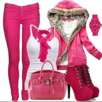 sweater pink fur fur jacket jeans scarf