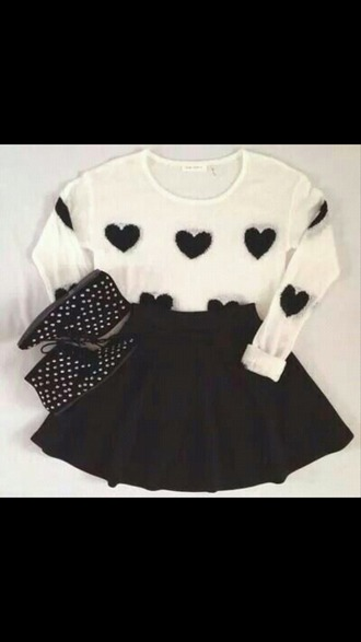 shoes polka dots heart ankle boots skirt shirt sweater