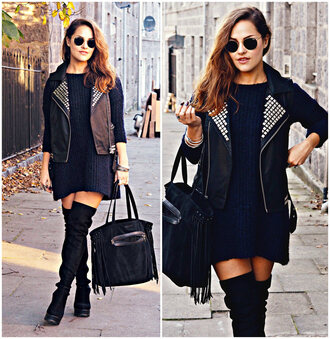 the little magpie blogger jacket sweater dress bag shoes