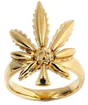 Ganja marijuana leaf gold bronze brass rasta ring 12 5