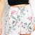 White Floral Print Elastic Waist Chic Shorts