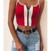 tank top,tommy hilfiger,stripes,red,white,blue,shirt,top,girly,girl,girly wishlist,zip,crop tops,cropped,crop,black,black and white,t-shirt,zip-up,tight