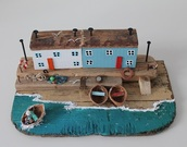 home accessory,driftwood cottage,home decor,sea,cottage,little house,rustic,ocean,sculpture,gift ideas,for her,boat,driftwood,fisherman cap