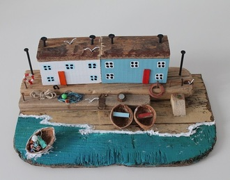 home accessory driftwood cottage home decor sea cottage little house rustic ocean sculpture gift ideas for her boat driftwood fisherman cap