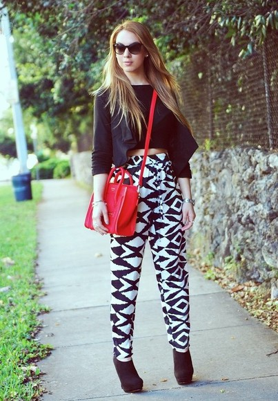 black white black and white cute bag pants blk wht fashion outfit high waisted pants