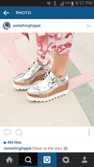 shoes hipster shoes silver platforms stars