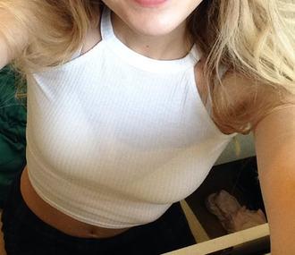 tank top white t-shirt teenagers crop tops summer modern