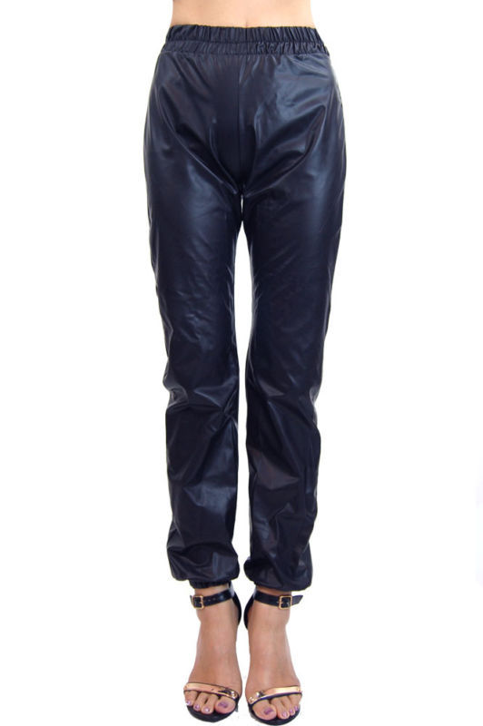 Faux leather vinyl joggers