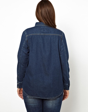 ASOS Curve | ASOS CURVE Exclusive Denim Shirt In Indigo at ASOS