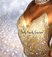 blouse,body kandy couture,gold,metal top,crystal halter,gold body chain,backless,body chain,halter neck,mesh crop tops,clubwear,sequins,sexy halloween accessory