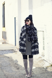 keiko lynn,blogger,dress,sunglasses,tartan,winter coat,winter outfits,pom pom beanie,thigh high boots,sweater,hat,coat,top,shoes,make-up