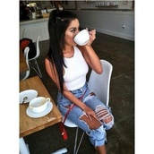 jeans,cross body,bag,ripped jeans,light blue,boyfriend jeans,bella,summer,hot,ripped,coffee,white crop tops