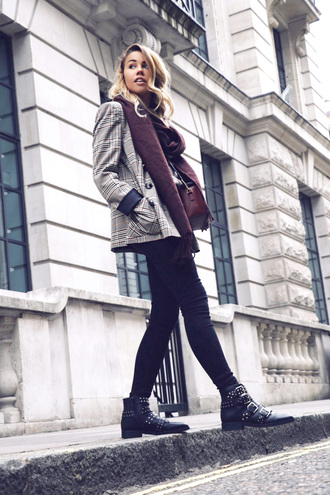jacket blazer check blazer plaid plaid blazer denim jeans black jeans boots black boots ankle boots scarf fall outfits