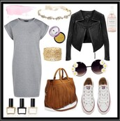 dress,grey dress,converse,white converse all star,sunglasses,round sunglasses,headband,perfecto,black perfecto,outfit,outfit idea,casual,casual dress,casual chic,bag,brown bag