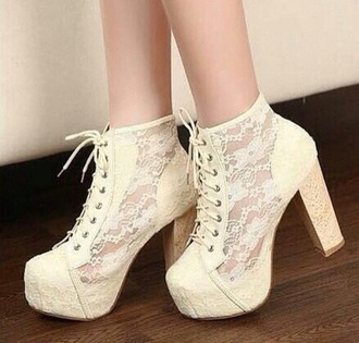 shoes off white lace booties