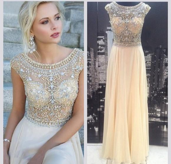 pearl prom long beige light long prom dresses