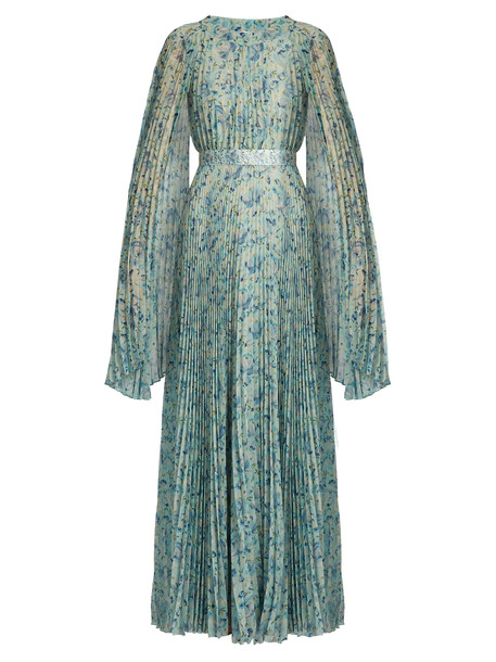 LUISA BECCARIA gown pleated floral print blue green dress