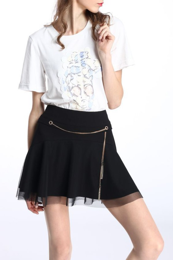 skirt dezzal girl girly black mini skirt fashion trendy stylish white hippie cute outfits