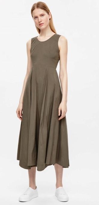 dress cos taupe midi dress minimalist