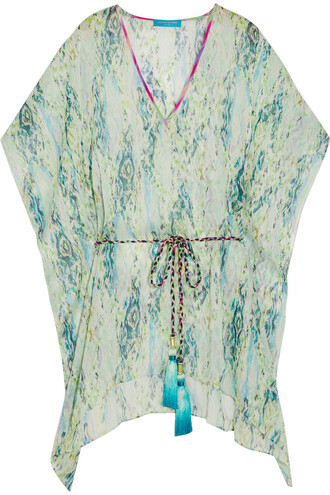 snake chiffon print silk light green top