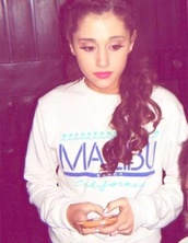 shirt,ariana grande,crewneck,cute,malibu,sweater,white,beach,california,summer