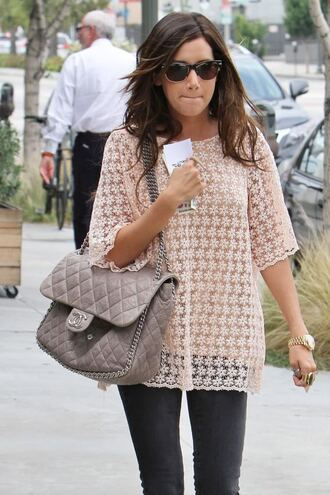 shirt lace pale pink baby pink blouse top flowers sheer ashley tisdale celebrity