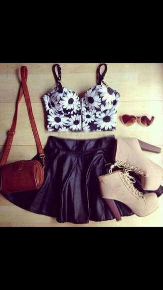 sunglasses top skirt