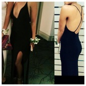 maxi,cross back,plunge neckline,formal,dress,cross act,maxis read,crossback,maxi dress,black dress,crossbar just,slit,bare back,formal dress,prom dress,slit dress