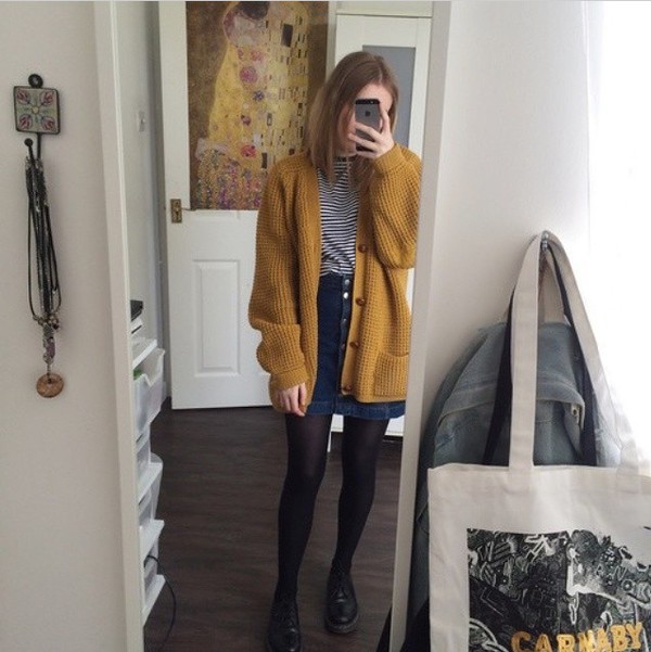 Mustard Chunky Knit Boyfriend Cardigan