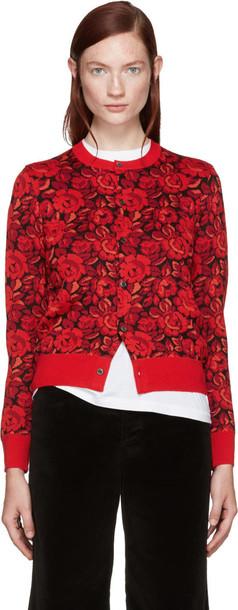 Comme Des Garçons Red Wool Floral Cardigan