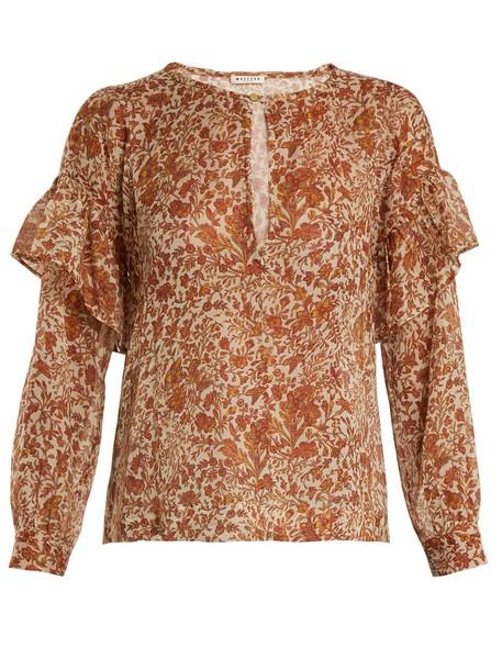 MASSCOB blouse ruffle cotton yellow top